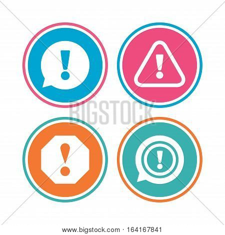 Attention icons. Exclamation speech bubble symbols. Caution signs. Colored circle buttons. Vector