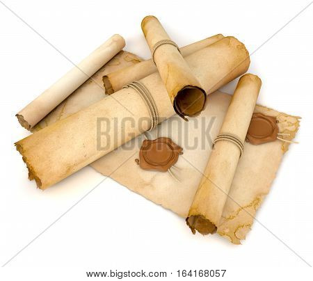 Old paper scroll with wax seal. Pile of archival documents. Conceptual illustration. Isolated on white background. 3D illustration