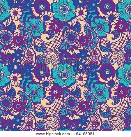 Paisley mehndi seamless colorful pattern. Vector illustration