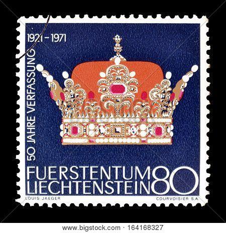 LIECHTENSTEIN - CIRCA 1971 : Cancelled postage stamp printed by Liechtenstein, that shows Crown.