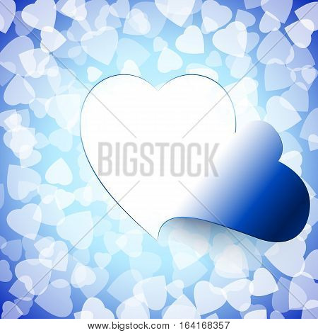Open door heart cut out on the background of signs of love; Access to the heart; Valentines Day & weddings Designs; Frame of the disclosed heart; Vector background Eps10; Blue version