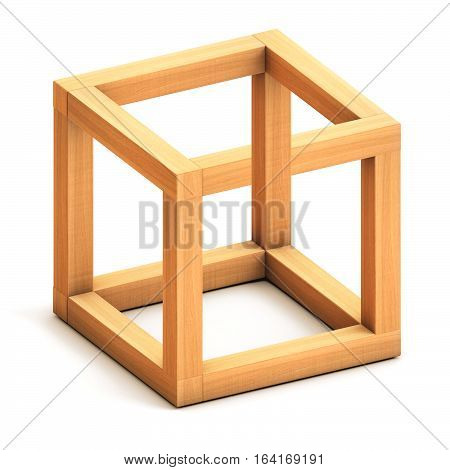 Impossible cube. Optical illusion. Impossible geometrical figure. 3D illustration. 3D rendering