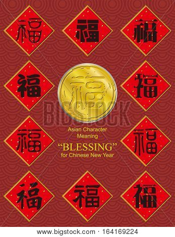 Blessing - Chinese character which meant blessing or blessed for Chinese New Year