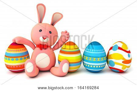 Cute plush bunny sitting in the same row with easter eggs. Isolated on white background. 3D illustration. 3D rendering
