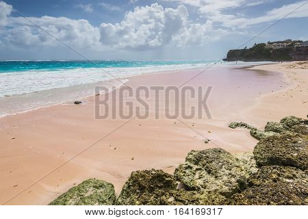 Tropical beach on the Caribbean island - Crane Beach Barbados. The beach has been named as one of the ten best beaches in the world and it has the pink-tinged sands.
