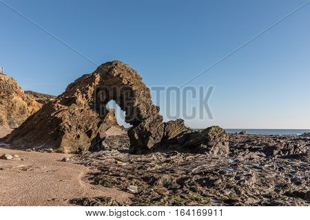 Ark rock formation at the Pointe du Payre, in the ouest coast of France in Vendee