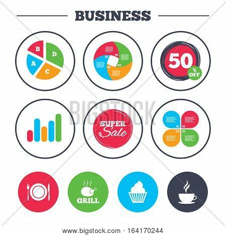 Business pie chart. Growth graph. Food and drink icons. Muffin cupcake symbol. Plate dish with fork and knife sign. Hot coffee cup. Super sale and discount buttons. Vector