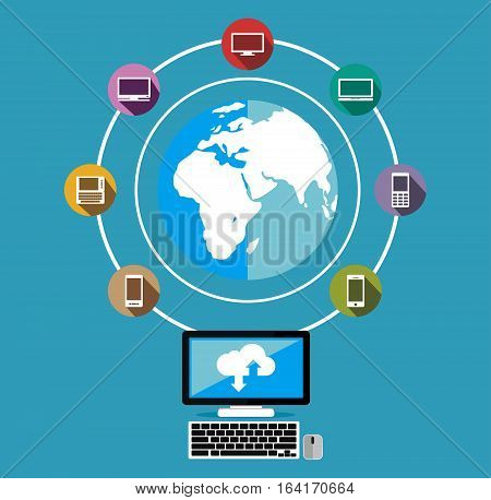 Connectivity concept. Connected devices over network concept. Distributed system concept.
