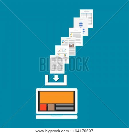 Download documents or files from internet. Download process concept.