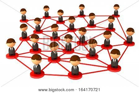 Crowd of small symbolic 3d figures. Isolated on white background. 3D illustration. 3D rendering