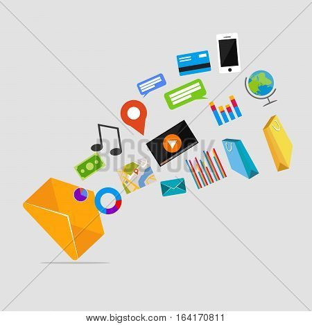 Multimedia messages. Email marketing. Email advertisement concept