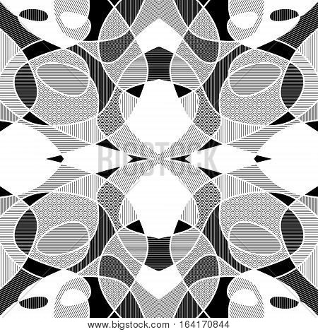 White And Black Geometric Mosaic Background With Hatched Fragments, Vector Patterned Tile