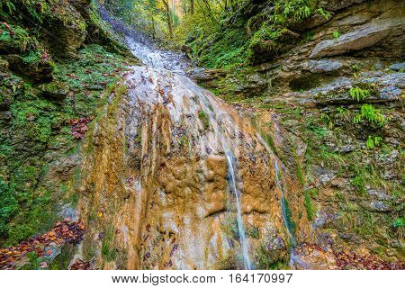 Beautiful landscape with forest waterfall and lush foliage in autumn