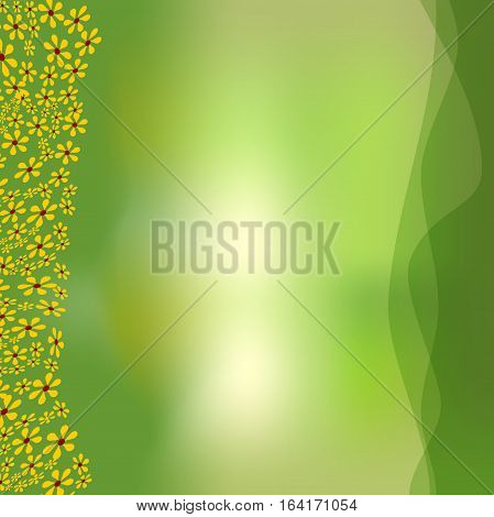 Green Background With Green Overlapping Waves And Small White Flowers For Spring Advertising Design,