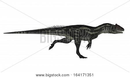 Allosaurus dinosaur unning isolated in white background - 3D render