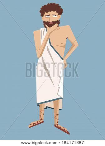 ancient greek philosopher - funny vector cartoon illustration