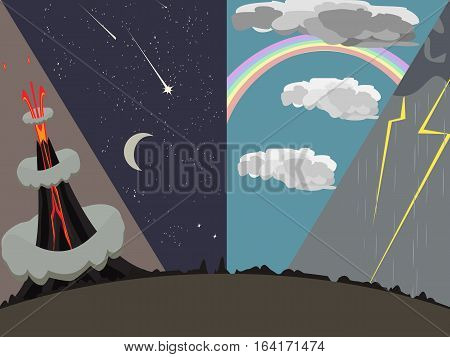 four images of natural phenomena vector cartoon background illustration