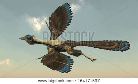 Archaeopteryx birds dinosaurs flying in the sky - 3D render
