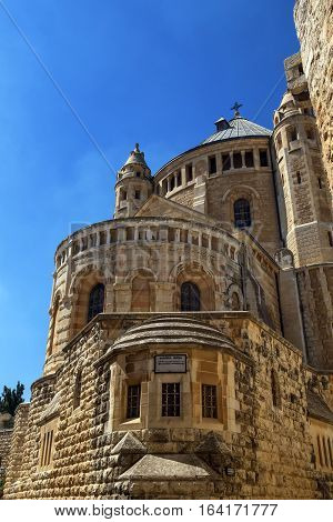 Benedictine abbey of the Dormition on Mount Zion by day, Jerusalem, Israel
