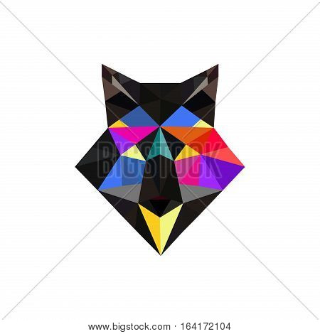 Fox polygonal portrait. Abstract low poly design. Vector illustration polygonal graphic geometric design. Modern creative icon wildlife triangle animal shape. Fox face origami animal.