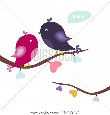 Valentines day background with love birds and tree branch made out of hearts. Vector illustration valentines symbols romantic decoration with hearts. Pair of lovebirds. Valentines Day.