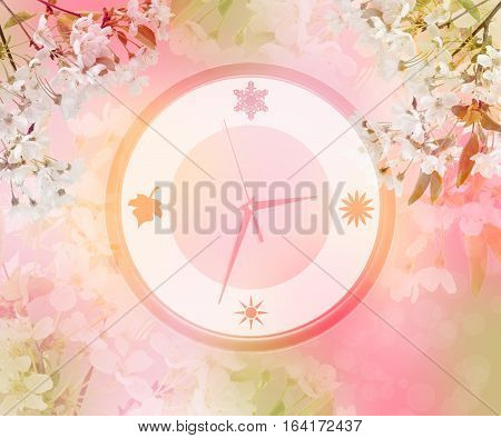 Gentle colors of nature in spring. Clock in cherry blossoms. Concept. Spring is coming. Time to wake up nature. Beautiful season. /Dream. Sleep./