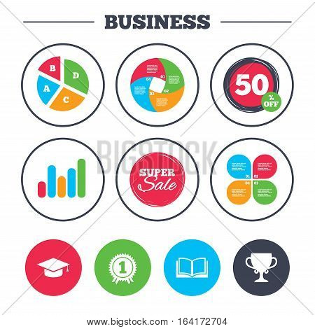 Business pie chart. Growth graph. Graduation icons. Graduation student cap sign. Education book symbol. First place award. Winners cup. Super sale and discount buttons. Vector
