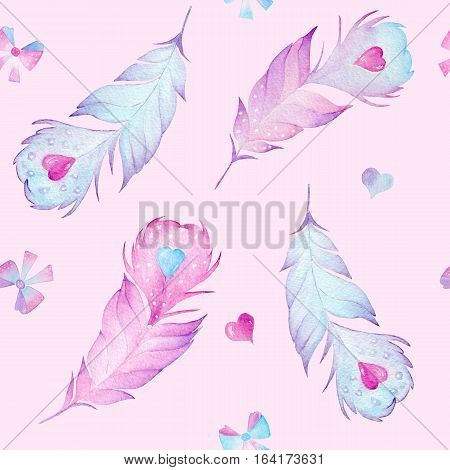 Watercolor seamless feather pattern with red and blue heart on pink background