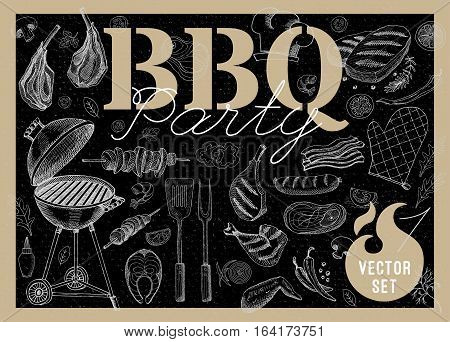 Set BBQ party Barbecue elements steak, sausages, meat, drinks, mustard, mushrooms, tomatoes, vegetables, fire Hand drawn vector illustration