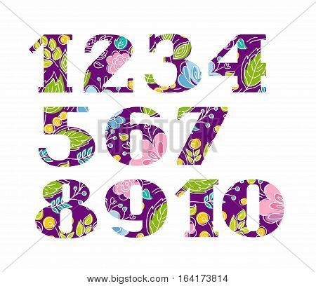 Numbers serif, flowers on purple background, vector. Colored, flat figures with serifs. Pink and blue flowers and yellow berries on a dark purple background.