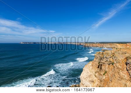 View of Saint Vincent Cape (Cabo de Sao Vincente) in Sagres Algarve Portugal; Concept for travel in Portugal