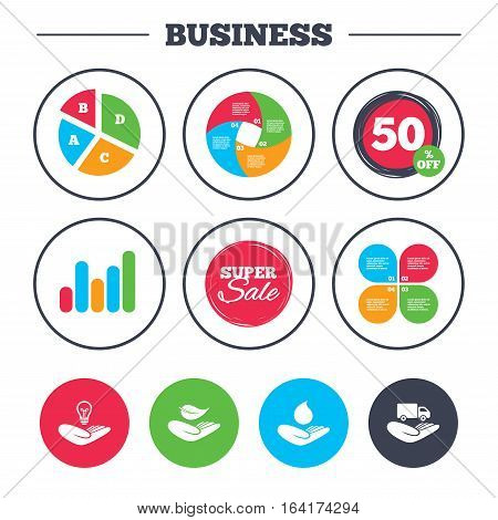 Business pie chart. Growth graph. Helping hands icons. Intellectual property insurance symbol. Delivery truck sign. Save nature leaf and water drop. Super sale and discount buttons. Vector