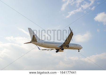 Airplane landing to the Itami International Airport in Osaka, Japan.