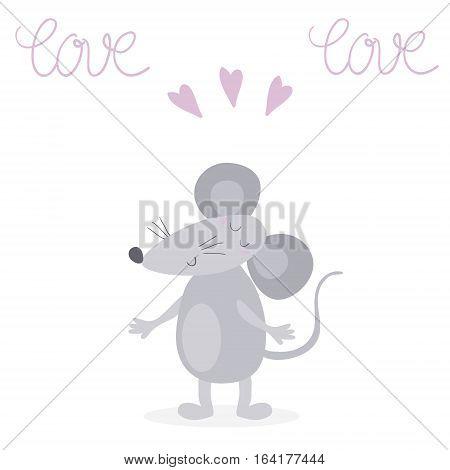 funny cute mouse cartoon style. vector print.
