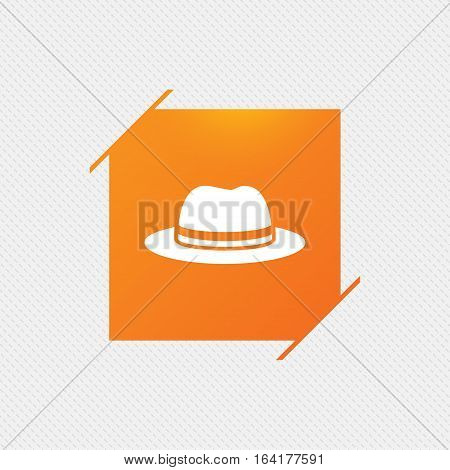 Top hat sign icon. Classic headdress symbol. Orange square label on pattern. Vector