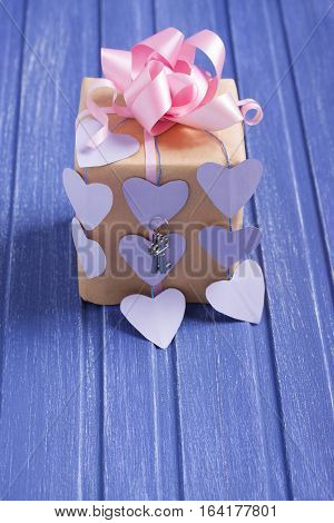 Handmade Gift Box With Paper Hearts, Bow And Silver Keys.