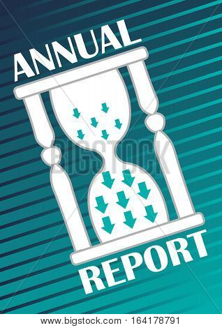 Annual report cover with hourglass with arrows on abstract green and blue striped background. Modern vector abstract cover for annual summary of economic or marketing results