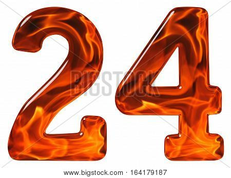 24, Twenty Four, Numeral, Imitation Glass And A Blazing Fire, Isolated On White Background