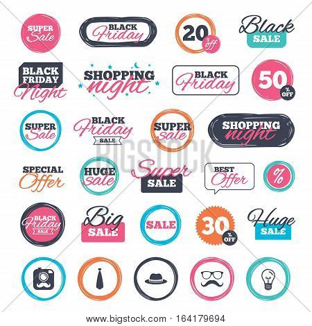 Sale shopping stickers and banners. Hipster photo camera with mustache icon. Glasses and tie symbols. Classic hat headdress sign. Website badges. Black friday. Vector