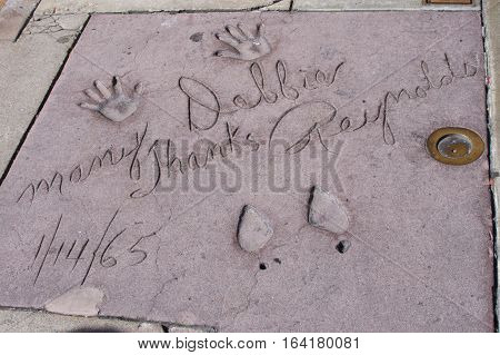 August 30th 2016, Photo of Debbie Reynolds handprints and footprints taken at Grauman TCL Chinese Theater