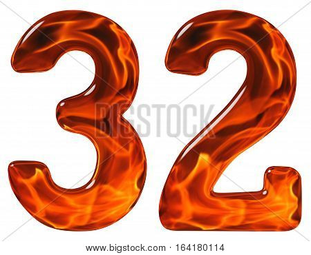 32, Thirty Two, Numeral, Imitation Glass And A Blazing Fire, Isolated On White Background