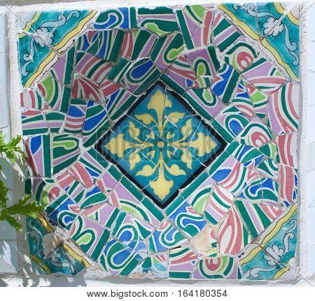 June 27, 2016:  Barcelona Spain Park Guell Gaudi Architecture tile