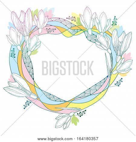 Vector round frame with ornate Snowdrop flowers or Galanthus in pastel colors isolated on white background. Outline floral elements for spring design. Traditional spring flower in contour style.