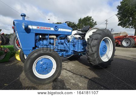 YANKTON, SOUTH DAKOTA, August 19, 2106: The restored classic blue Ford tractor is displayed at the annual Riverboat Days celebrated the third weekend of August