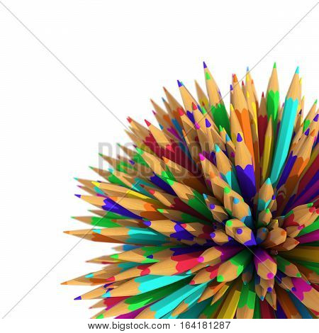 Pencils - 3D - Colors - 3D rendering of a multicolored pencils in the shape of a sphere.