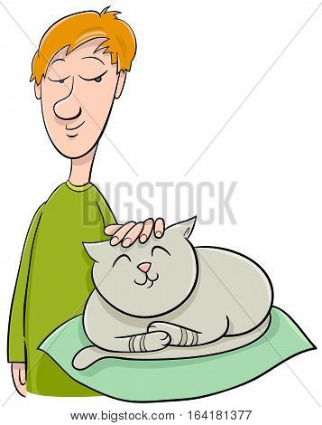 Boy Strokes Cat Cartoon