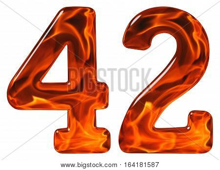 42, Forty Two, Numeral, Imitation Glass And A Blazing Fire, Isolated On White Background
