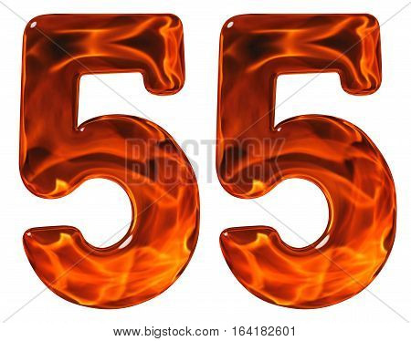 55, Fifty Five, Numeral, Imitation Glass And A Blazing Fire, Isolated On White Background