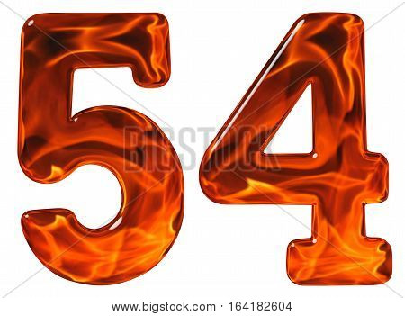 54, Fifty Four, Numeral, Imitation Glass And A Blazing Fire, Isolated On White Background