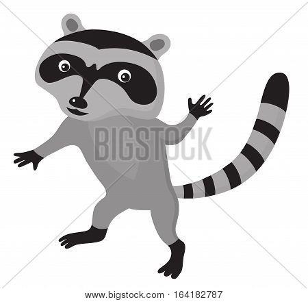 Cute cartoon raccoon on isolated white background vector illustration